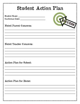 Parent Teacher Conference Note Taking Page