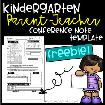 Parent-Teacher Conference Note Template Freebie