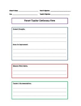Parent-Teacher Conference Notes