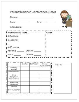 Parent Teacher Conference Notes --- EDITABLE
