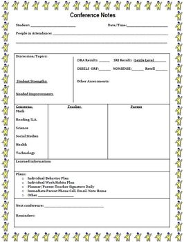Parent teacher conference notes form by jennifer k tpt for Parent teacher meeting report template
