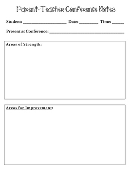 Parent-Teacher Conference Notes Template