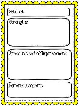 Parent Teacher Conference Notes Template