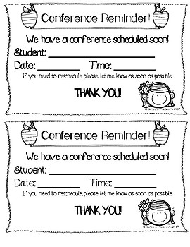 Parent Teacher Conference Notes and Reminder
