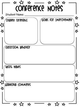 Parent-Teacher Conference Notes (editable version available)