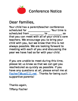 Parent Teacher Conference Notice/Reminder