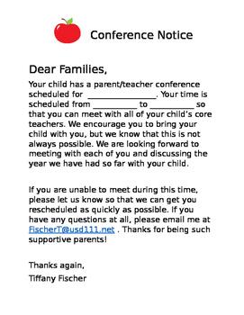 Parent Teacher Conference Notice/Reminder