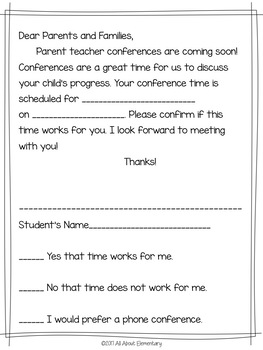 Parent Teacher Conference Forms