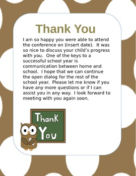 Parent Teacher Conference Pack Editable