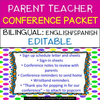 Parent Teacher Conference Packet {EDITABLE/BILINGUAL} English & Spanish