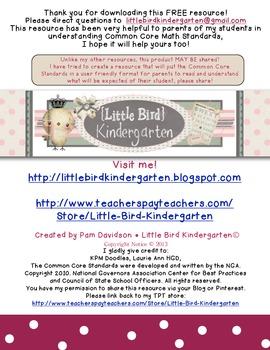 Parent Teacher Conference Packet FREEBIE: Math Common Core Kindergarten