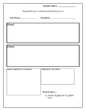 Parent/Teacher Conference Planning Form - Glow and Grow!