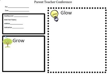 Parent Teacher Conference Planning Page