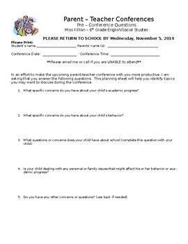 Parent-Teacher Conference Planning Questionnaire