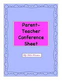 Parent Teacher Conference Progress Report