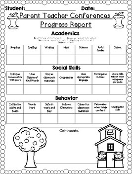 Parent Teacher Conference Progress Report