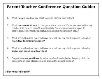 Parent Teacher Conference Question Guide (for parents)
