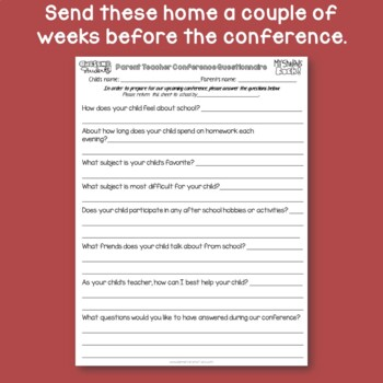 Parent Teacher Conference Questionnaire