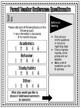 Parent Teacher Conference Questionnaire FREEBIE