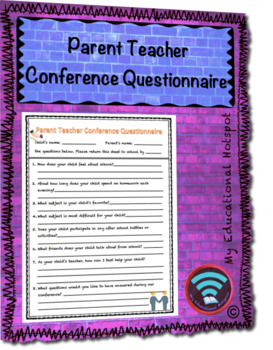 Parent Teacher Conference Questionnaire Template