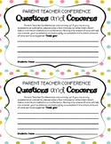 Parent/Teacher Conference Questions and Concerns