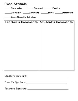 Parent Teacher Conference Quick & Easy Reporting Form