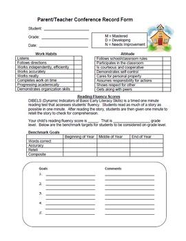 Parent Teacher Conference Record (w/DIBELS)