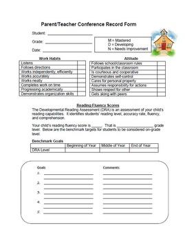 Parent Teacher Conference Record (w/ DRA)
