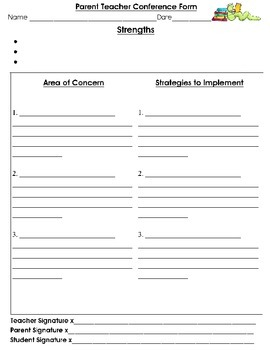 Parent Teacher Conference Recording Form