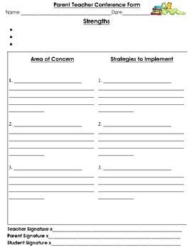Parent Teacher Conference Recording Form