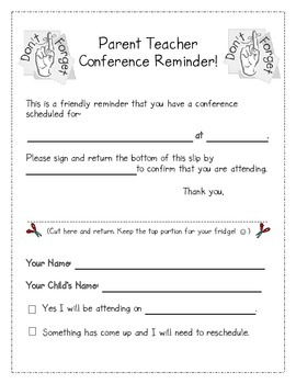 Parent Teacher Conference Reminder