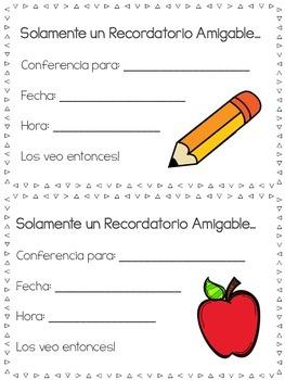 Parent Teacher Conference Reminder (English & Spanish)