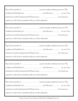 Parent Teacher Conference Reminder Cards