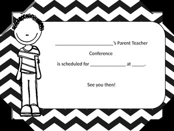Parent Teacher Conference Reminder Cards (Editable)