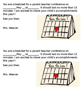 Parent Teacher Conference Reminder  Editable