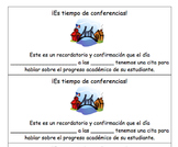 Parent-Teacher Conference Reminder - English AND Spanish