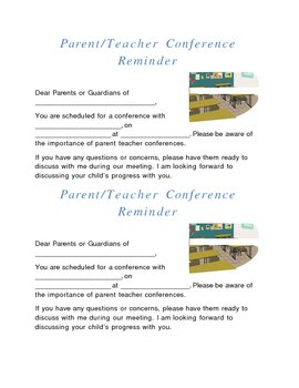 Parent Teacher Conference Reminder Form