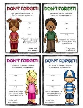 Parent Teacher Conference Reminder Forms [EDITABLE]