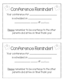 Parent Teacher Conference Reminder Sheet