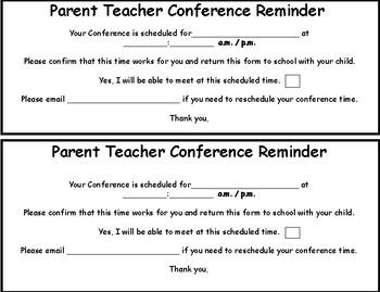Parent Teacher Conference Reminder Sheet