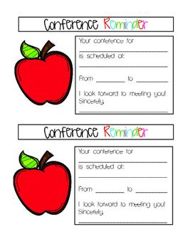 parent teacher conference reminder pdf