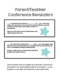 Parent/Teacher Conference Reminder- Spanish and English