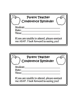 Parent Teacher Conference Reminder & Thank You Note Freebie