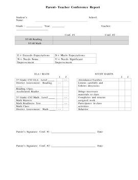 Parent-Teacher Conference Report (English/Spanish)