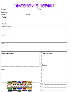 Parent teacher conference report form by miss pam tpt for Parent teacher meeting report template