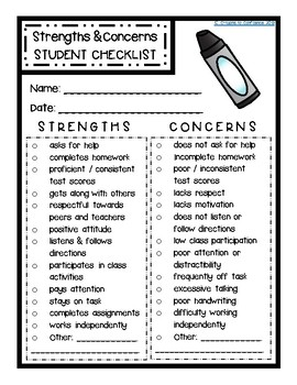 Student Strengths & Weaknesses CHECKLIST - Parent Teacher Conferences