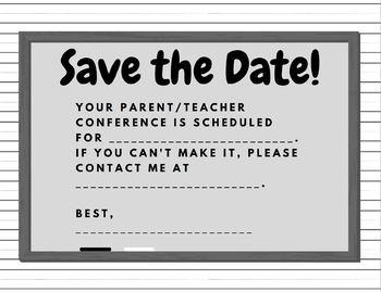 parent teacher conference save the date reminder by michelle ward