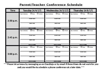 Parent Teacher Conference Schedule