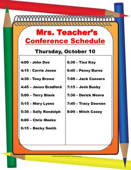Parent-Teacher Conference Schedule Poster