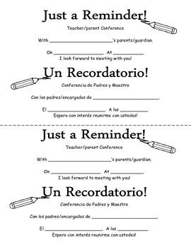 Parent Teacher Conference Schedule and Reminder Set